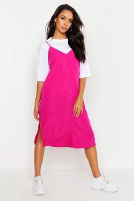 boohoo Button Through Woven Cami Dress