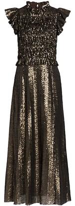 Sea Smocked Sequin Midi Gown