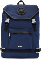 Versus Navy Nylon Buckled Backpack