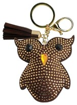 Trimmings Women's Key Ring Faux Leather Owl With Tassel And Stones- Gold/Brown