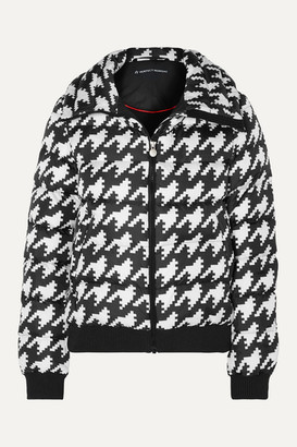 Perfect Moment Super Star Hooded Houndstooth Quilted Down Ski Jacket - Black