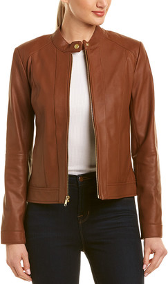 Cole Haan Leather Racer Jacket