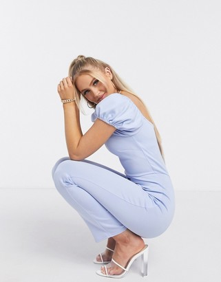 True Violet puff sleeve jumpsuit in pale blue