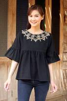 Embroidered Black Cotton Blouse, 'Licorice Chic'