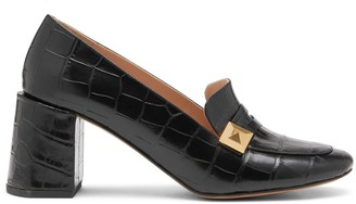 Mulberry Keeley Pyramid Heeled Loafer Black Croc Print