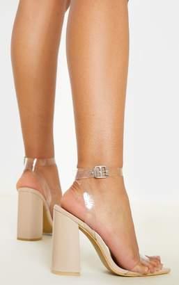 PrettyLittleThing Nude Clear Strap Block Heel Point Toe Sandal