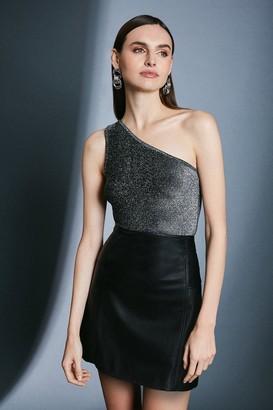 Karen Millen Glitter One Shoulder Jersey Top