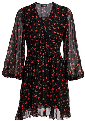 The Kooples Valentine Heart & Polka Dot Lace-Up Puff-Sleeve A-Line Dress