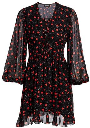 The Kooples Valentine Heart & Polka Dot Lace-Up Puff-Sleeve A-Line Dress
