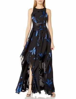 Halston Women's Blossom Burnout Handkerchief Hem Gown