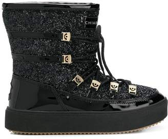 Chiara Ferragni lace-up glitter moon boots