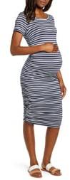 Angel Maternity Print Short Sleeve Body-Con Maternity Dress