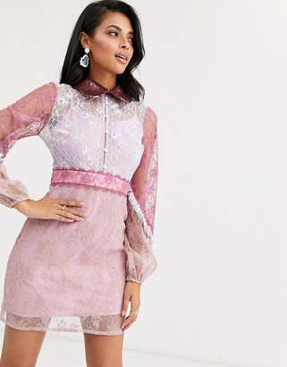True Decadence contrast allover lace mini with statement sleeve in pink
