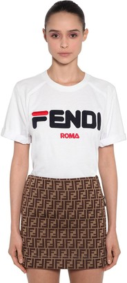 Fendi Mania Logo Printed Jersey T-Shirt