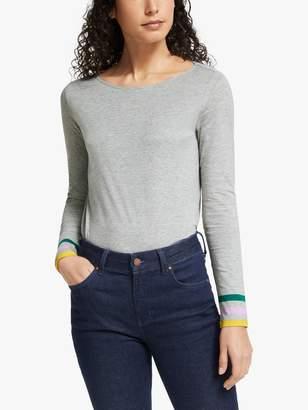 Boden Stripe Cuff Long Sleeve Tee, Grey Marl/Multi