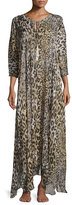 Josie Natori Silk Shadow Leopard Lounge Caftan, Gray Multi