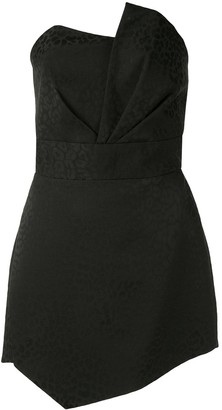 Mason by Michelle Mason Leopard-Print Strapless Dress