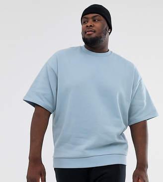 Asos Design DESIGN Plus oversized short sleeve sweatshirt in blue
