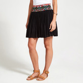 Apricot Black Tribal Trim Belted Mini Skirt