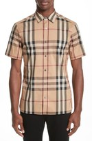 Burberry Men's 'Nelson' Trim Fit Short Sleeve Sport Shirt