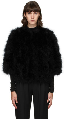 Yves Salomon Black Feather Cropped Jacket