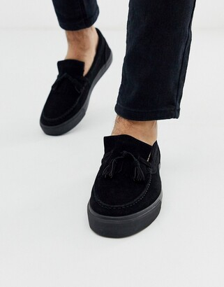 Asos Design DESIGN slip on tassel plimsolls in black faux suede