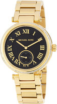 MICHAEL Michael Kors Golden-Plated Stainless Steel Two-Hand Rhinestone Watch w/ Black Dial