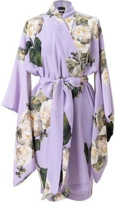 Castlebird Rose Mini Silk Kimono Lavender