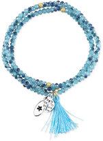 "Unwritten Faith, Hope, Believe, Joy, Love"" Blue Beaded Wrap Tassel Bracelet with Silver-Plated Brass Accents"
