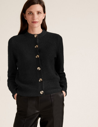 Marks and Spencer Ribbed Crew Neck Button Front Cardigan