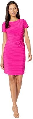 Adrianna Papell Matte Jersey Pintucked Draped Dress (Hot Pink) Women's Dress