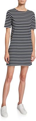 Kule Crewneck Short-Sleeve Striped Tee Dress