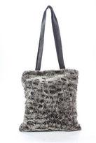 Etro Brown Rabbit Fur Magnetic Popper One Pocket Tote Handbag
