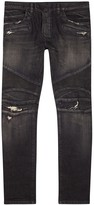 Balmain Black Distressed Slim-leg Biker Jeans