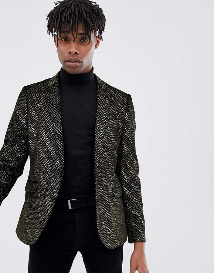 Asos Design DESIGN skinny blazer in gold glitter geo velvet