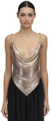 Pointy Backless Metal Mesh Top
