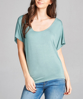 Sage Scoop Neck Dolman Tee