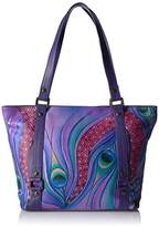 Anuschka Anna Handpainted Leather Classic Large Tote Dreamy Peacock Dewberry