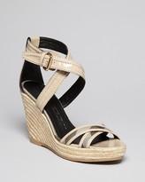 Burberry Espadrille Platform Wedge Sandals - Smoked Check Walmer
