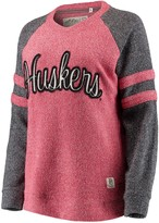 Unbranded Women's Pressbox Scarlet Nebraska Cornhuskers Dawn Twisted Terry Raglan Sleeve Stripe Crew Sweatshirt