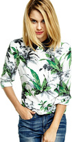 Equipment Reese Contrast-Collar Silk Blouse