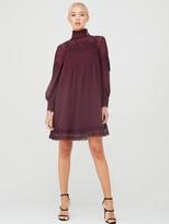 Ted Baker Anneah High Neck Lace Long Sleeve Tunic Dress - Deep Purple