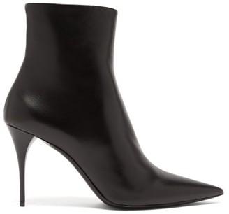Saint Laurent Lexi Point-toe Leather Ankle Boots - Womens - Black