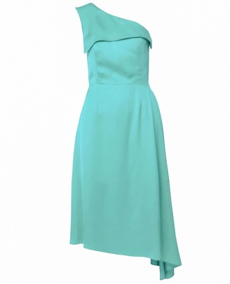 Dalb Mirage One-Shoulder Mint Midi Dress With Side Pleat