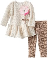 Nannette Chevron Lace Dress & Leopard Leggings Set - Baby Girl