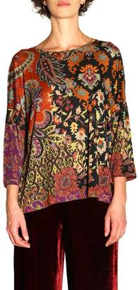 Etro Sweater Long-sleeved Sweater In Patterned Jersey By