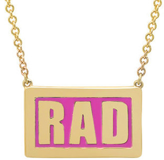 Established Pink Enamel RAD Plate Yellow Gold Necklace
