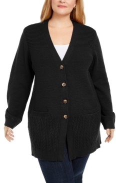 Karen Scott Plus Size Ribbed Knit Cardigan Sweater, Created for Macy's