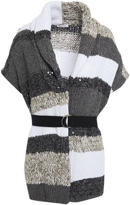 Brunello Cucinelli Belted Embellished Striped Cotton-blend Cardigan