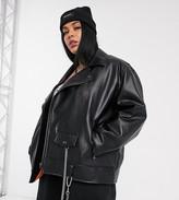 Collusion COLLUSION Plus oversized pu biker jacket in black